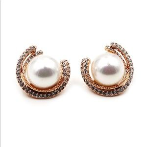 Fashion round pearl rose gold crystal earrings